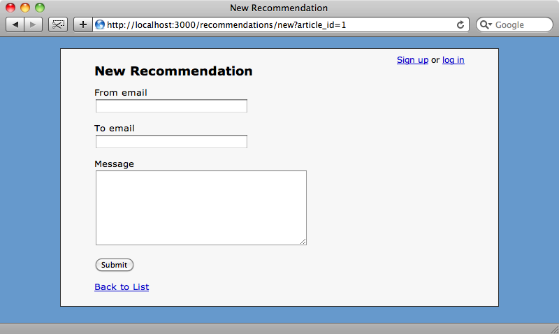 The new recommendation form.