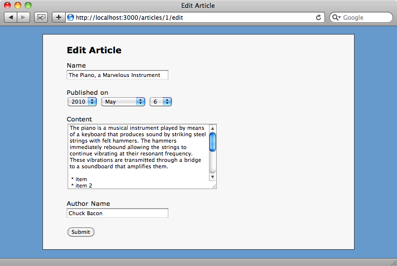 The edit page for an article with the date dropdowns.