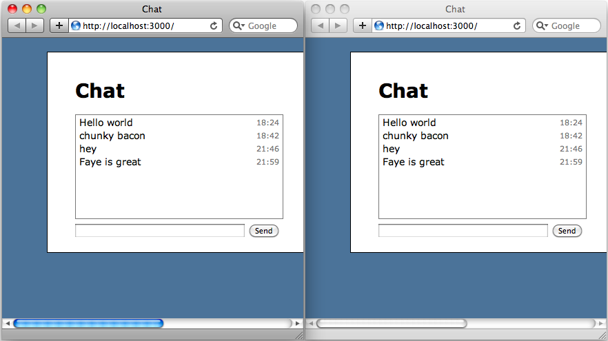 Sent messages are now shown in both windows.