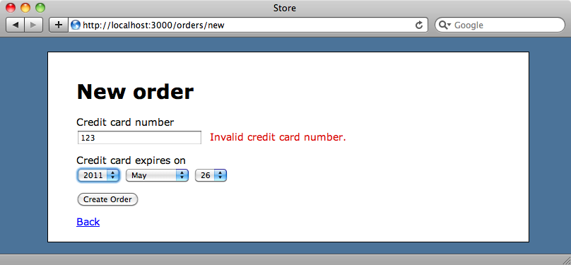 The credit card validation page.