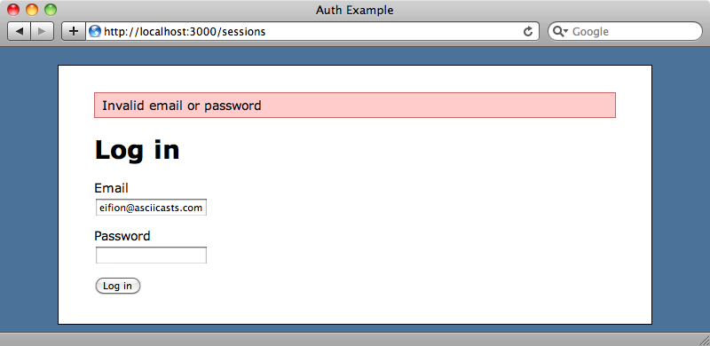 An error is thrown if the username or password are incorrect.