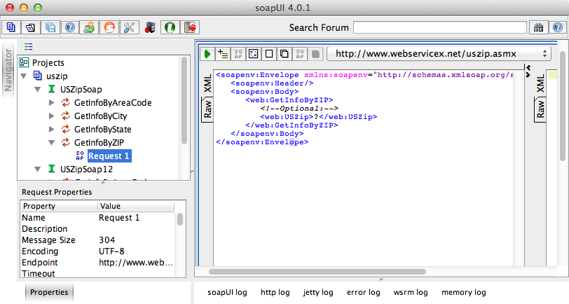 The request XML showing in soapUI.