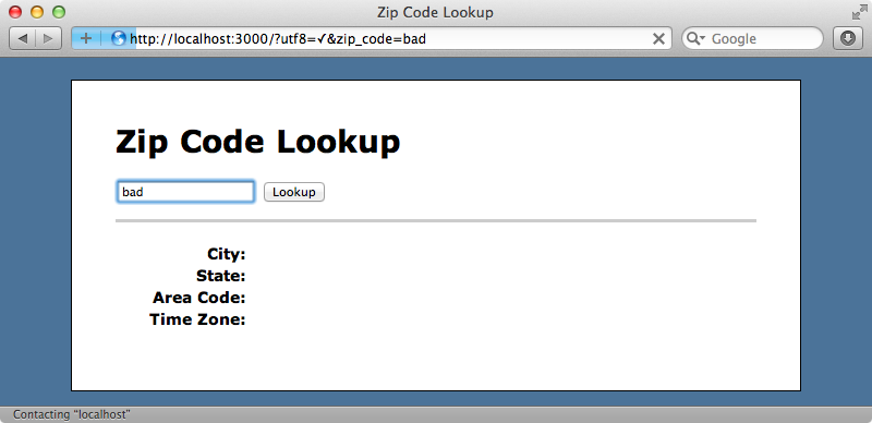 Invalid Zip codes no longer throw an exception.