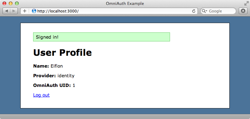 Signed in successfully through OmniAuth.